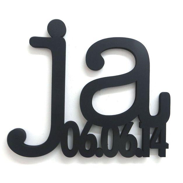 Buchstaben & Schriftzüge - JA mit Ihrem Datum, Hochzeitsgeschenk groß - ein Designerstück von NOGALLERY bei DaWanda