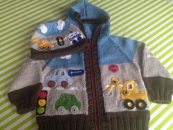 Handgestricktes Set aus ganz weicher BioBaumwolle !  Mit Kapuze und Reißverschluss !  Sehr besonders und sehr aufwendig, mit ganz viel Liebe, gearbeitet.  Mit vielen gehäkelten Fahrzeugen... [] #<br/> # #Baby #Boy,<br/> # #Crochet,<br/> # #Renato,<br/> # #Tissues,<br/> # #Dawanda #With,<br/> # #Stricken,<br/> # #Dear<br/>