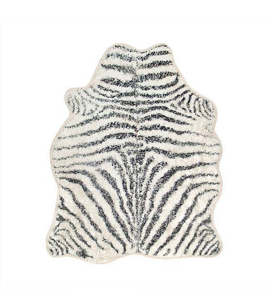 HK-living Vloerkleed Zebra badmat wit zwart katoen 85x100cm - wonenmetlef.nl