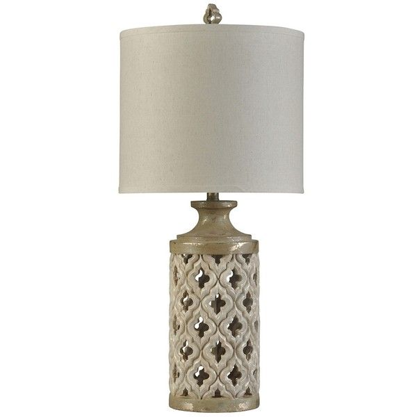 Aged Ivory Open Weave Table Lamp (2,355 MXN) ❤ liked on Polyvore featuring home, lighting, table lamps, off white shade, cream table lamps, alabaster shades, beige table lamps and woven shades