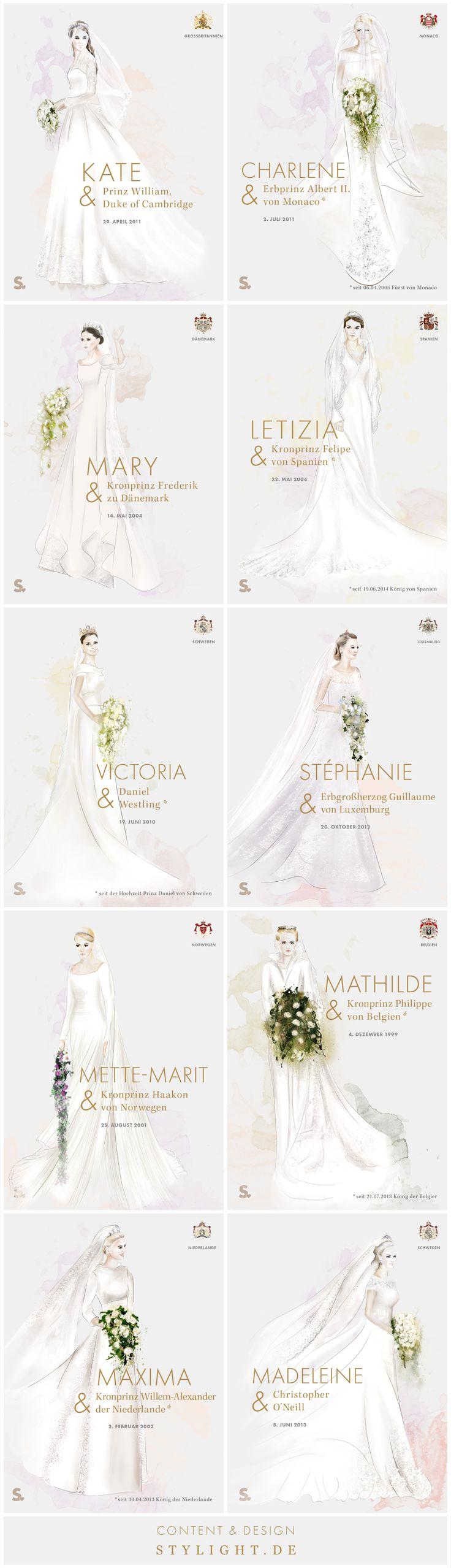 Die royalen Hochzeitskleider von Kate Middleton, Charlene Wittstock, Mary Donaldson, Mette-Marit von Norwegen, Mathilde von Belgien, Maxima Cerruti und Prinzessin Madeleine.