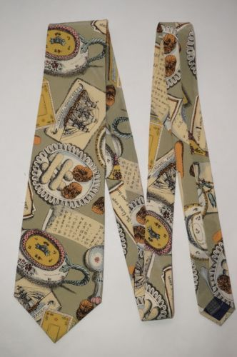 Fornasetti-Milano-NWT-Tea-Pot-Crumpets-Biscuits-Party-Italy-Silk-Neck-Tie-58-034-L
