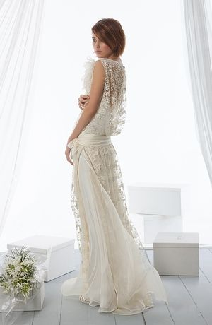 Le Spose di Gio - Illusion Sheath Gown in Lace