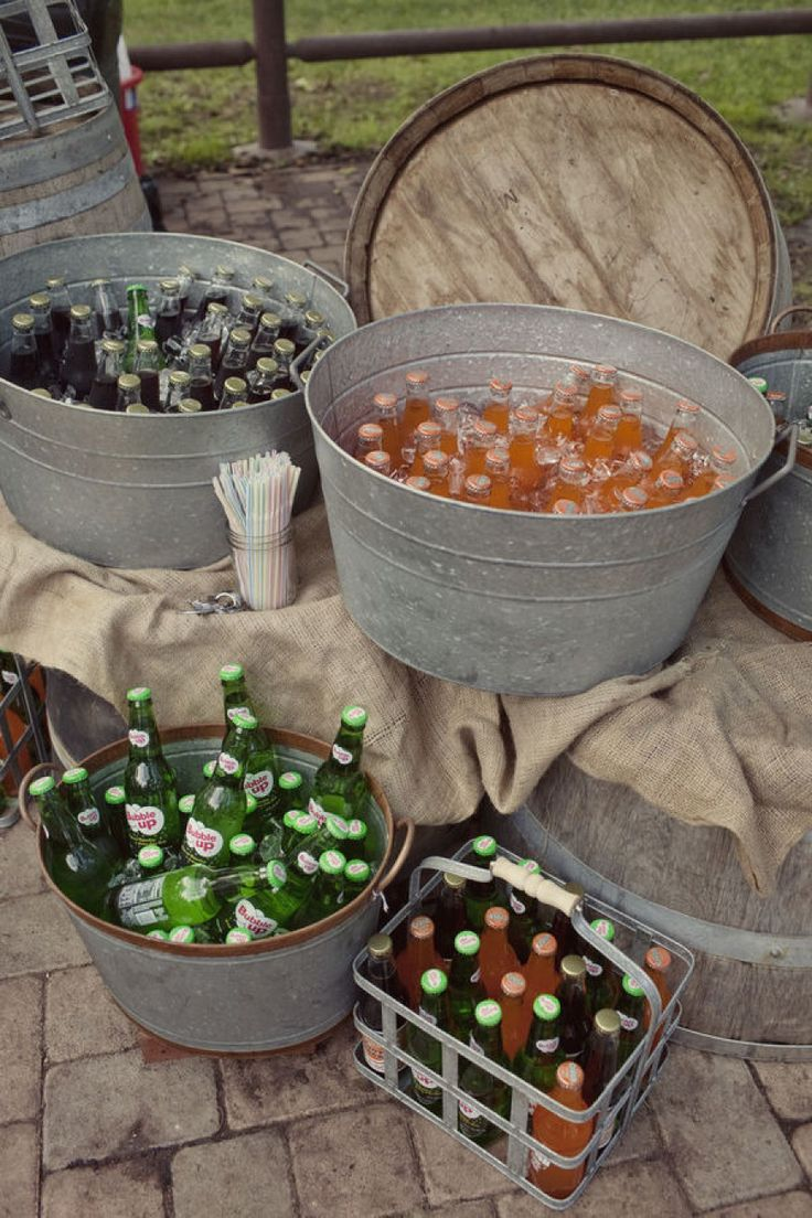 Drink station - use galvanized tubs and buckets as coolers, bottled soda pop with ice and water.