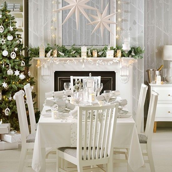 Best Christmas Dining Images On Pinterest Christmas Table - Decorating dining room christmas white silver christmas palette