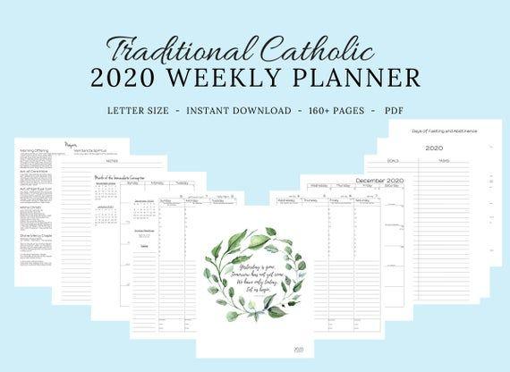 2020 2021 Traditional Latin Catholic Weekly Planner Printable Etsy In 2020 Weekly Planner Weekly Planner Printable Catholic