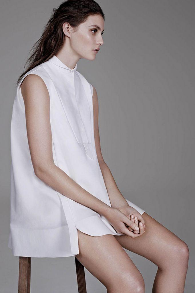Le Fashion Blog All White Everything The Wall Street Journal Bib Yolk Collared Balenciaga Dress The Simplicity of the White Shirt WSJ Magazi...