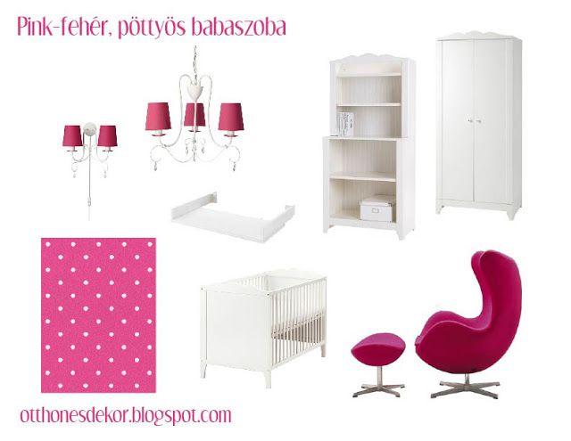 fehér, pink, pöttyös babaszoba, white, pink, polka dot, nursery, baby