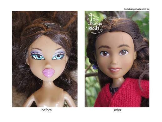 """Tree Change Dolls - ze staré """"módní"""" panenky Bratz udělala přirozeně vypadající holčičku oblečenou ve svetříku (Sonia Singh, Australia)"""