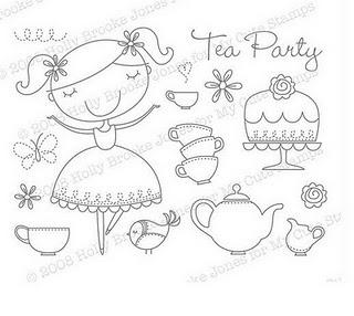 tea party embroidery applique