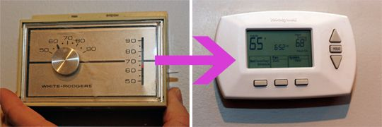 How to Install a Programmable Thermostat *not me silly, the hubster:)