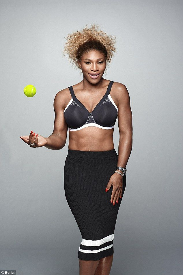 Great physique: In one of the shots for the new Berlei campaign, Serena Williams can be seen confidently bouncing a tennis ball in one hand as she shows off her amazing abs