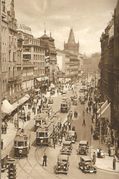 Prague, traffic jam on Na Příkopě street, 30's