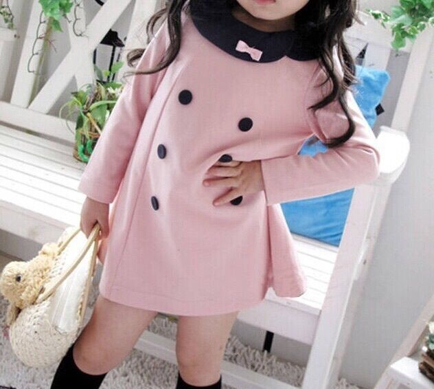 Soft Baby Pink Full Sleeves Girls Dress / Frock from Urban Buy