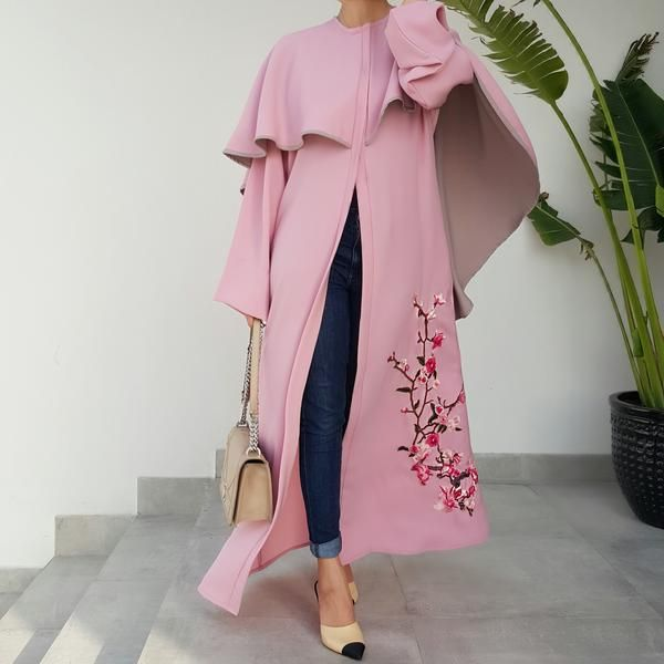 Ramadan2017 2 toned Cape Abaya with Floral Embroidery
