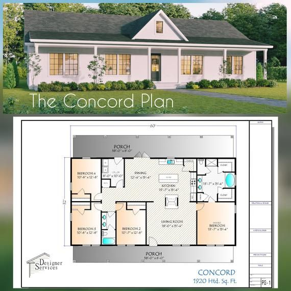 The Concord Plan Is Simple And Beautiful At The Same Time 4 Bedrooms 2 Baths And A Unique 2 Sided Firepla House Plans Barn House Plans House Plans Farmhouse