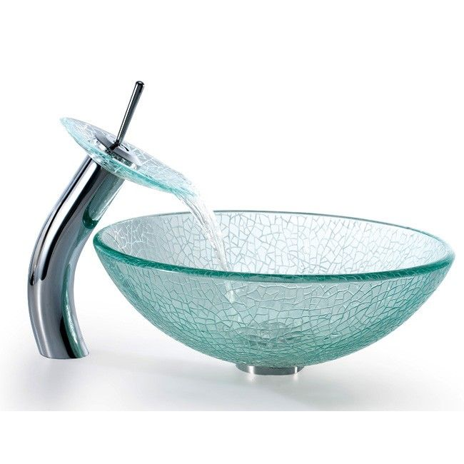 The Broken Glass Vessel Sink with Waterfall Faucet will create an artful display in modern bathrooms.