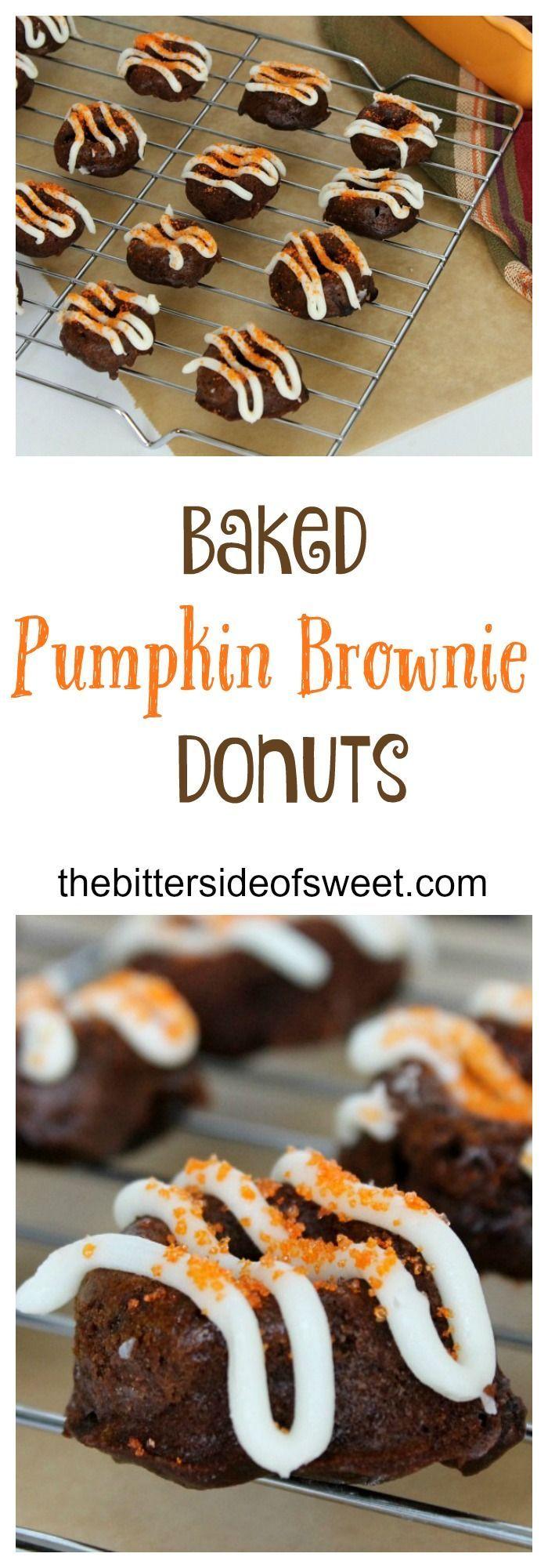 Baked Pumpkin Brownie Donuts   The Bitter Side of Sweet #donuts #brownie #chocolate #pumpkin