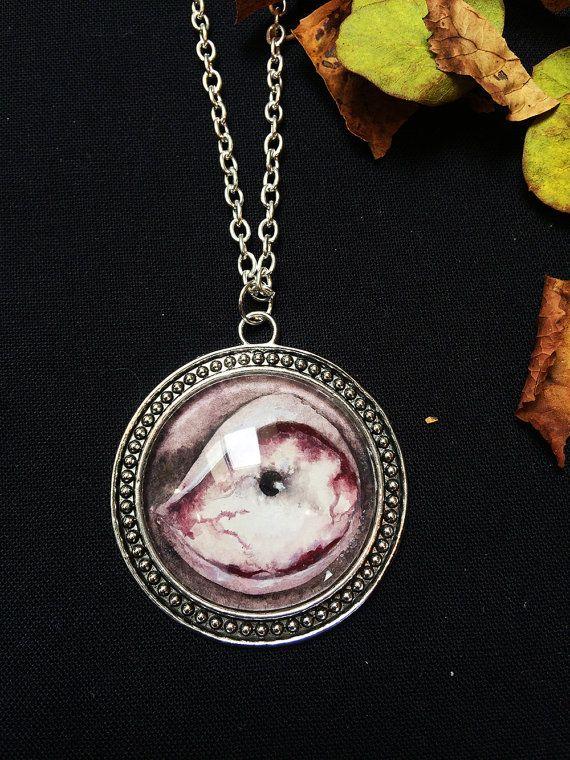 Zombie oog ketting - horror sieraden - zombie kunst - zombie schilderij - griezelig halsketting - Apocalyps kunst - monster kunst