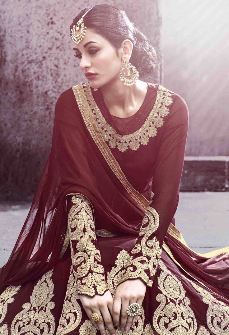 #Maroon #Golden #Embroided #Classy #Beautiful #Anarkali #Wedding #Suit