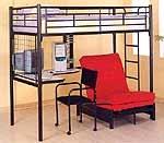 Black Metal Teen Loft Bed Set w Desk, Chair, Futon...perfect for dorm!