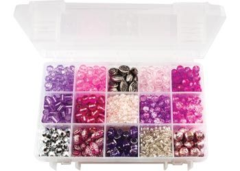 Assorted Pink and Purple Glass Beads Box 320g. Keep children entertained for hours with this great pack of plastic and glass beads.
