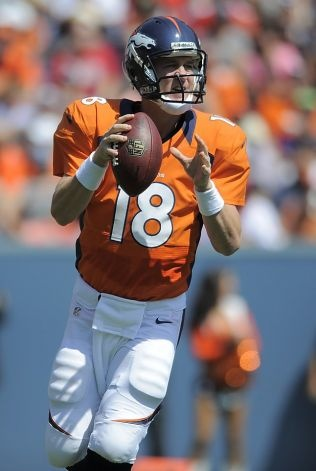 Denver Broncos quarterback Peyton Manning (18) passes against the San Francisco 49ers during the first quarter of an NFL preseason football game in Denver, Sunday, Aug. 26, 2012. (AP Photo/Jack Dempsey) Photo: Jack Dempsey, Associated Press / SF