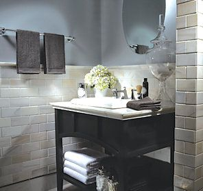 bathroom color scheme grey blue charcoal and creme hydrangea accent - 1940 Bathroom Design