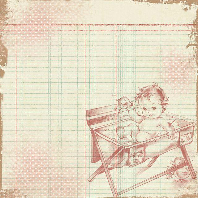 Free Vintage Digital Scrapbooking Paper – Vintage Baby
