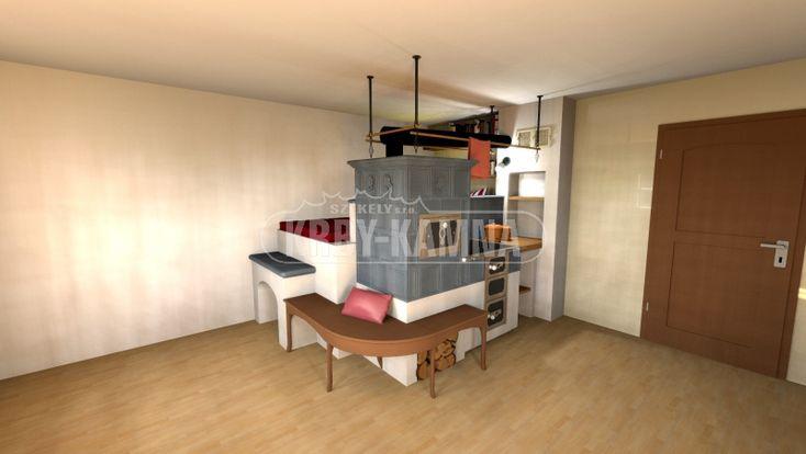 Vizualizace kachlový sporák s ležením, lavičkou a hambalky. Kuchyňská kamna jako u babičky.
