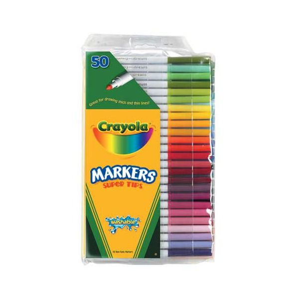 Crayola Supertips Markers Washable 50 assorted Colors FAST SHIPPING