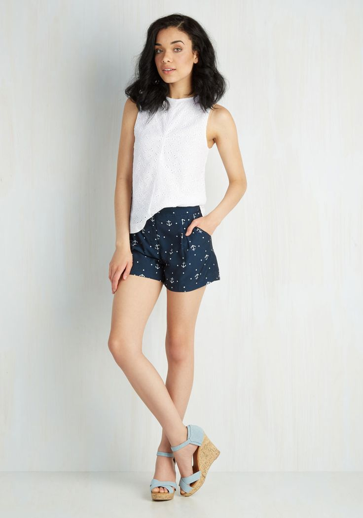 Anchors Array Shorts. Set sail for fashionable fun when you sport these nautical-themed, pocketed shorts from Canadian brand Pink Martini! #blue #modcloth