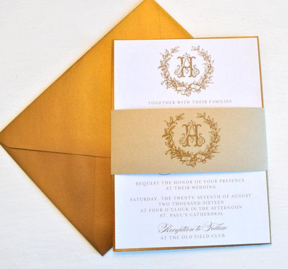 This classic gold wedding invitation is hand crafted and designed with a beautiful custom wedding monogram. #WeddingInvitations #WeddingCards #WeddingInvites #CustomWeddingCards