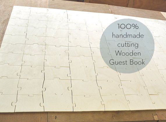 Guest Book Wedding Puzzle Wood 100 pieces   hand by mywoodydinner