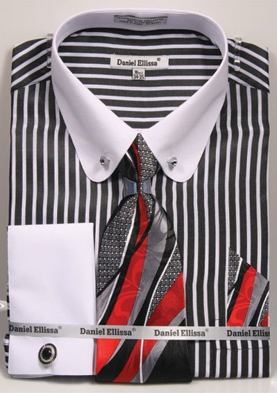 1bacd155 Daniel Ellissa Men's French Cuff Shirt Set - Stripe w/ Collar Bar ...