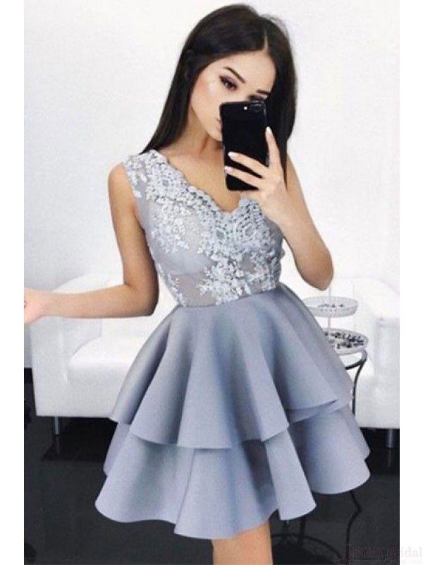 elegant homecoming dresses, v-neck homecoming dresses, applique homecoming dresses,layers homecoming dresses.gery sliver  homecoming dresses, party dresses, cocktail dresses #SIMIBridal #homecomingdresses