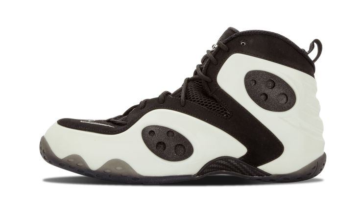 The hybrid sneaker that takes elements of Penny hardaway's early Nike models features a glow in the dark Posite shell with black accents. This limited edition colorway has become one of the most sought after versions of the silhouette.