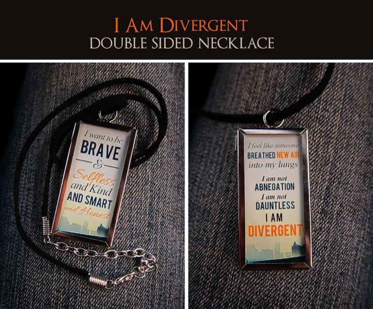 Double-Sided - I Am Divergent - Divergent Fan Necklace. $15.00, via Etsy.