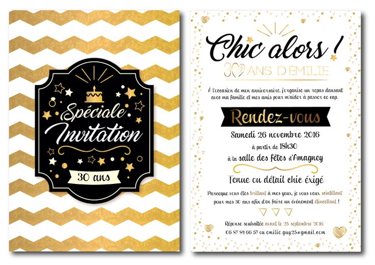 17 best ideas about invitation 30 ans on pinterest invitation anniversaire 50 ans carte. Black Bedroom Furniture Sets. Home Design Ideas