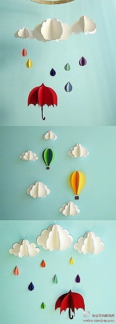 paper clouds, raindrops, umbrellas This would be fun for party decorations. Cool for a bulletin board!