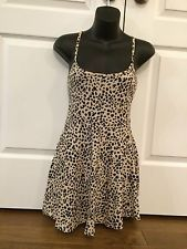 H M Leopard Animal Print Cotton Stretch Dress With Fitted TOP Spaghetti 8   eBay