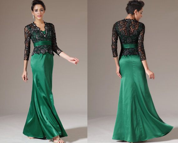 Custom Made New Black Lace Top Long Sleeves Green Mother of the Bride Dress (26143104)