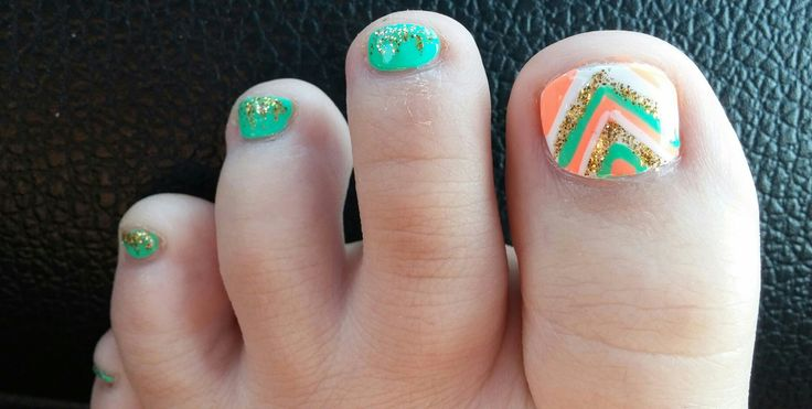 Chevron Pedicure Mint Coral Gold Glitter Tribal