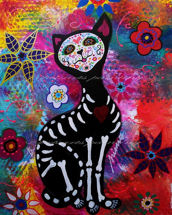 Mexican CAT El Gato Meow Day of the Dead Lover 11x14 by prisarts, $50.00