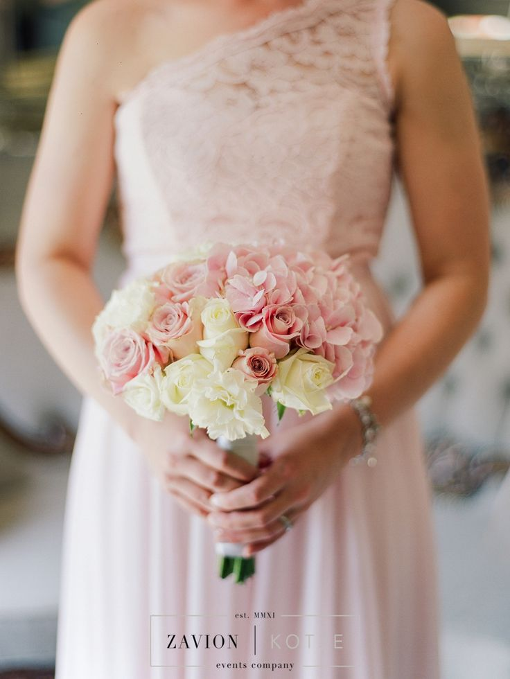 Bridesmaids Bouquet, Soft pink roses, hydrangeas, and white roses. Beautiful round bouquet.
