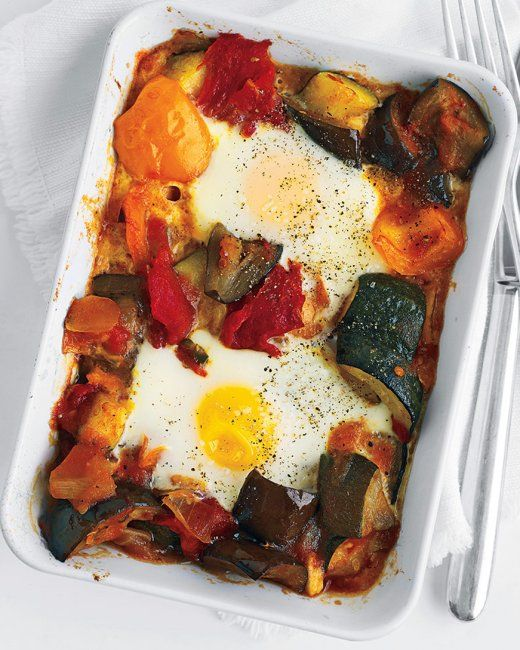 ... Baked Eggs. See the pin, 34 Healthy Breakfasts, #9 for a quick version
