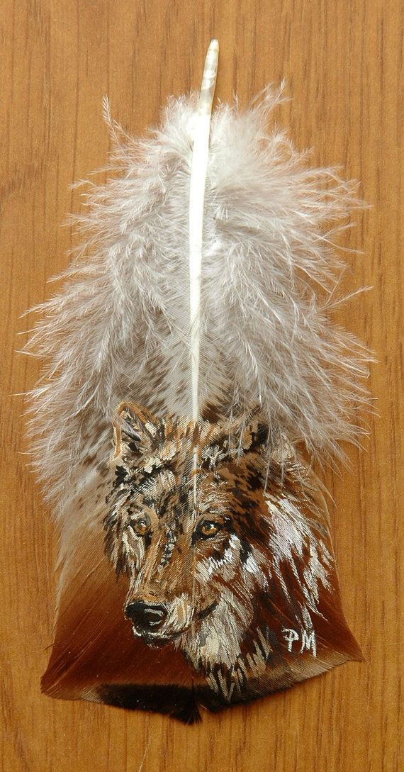 Hand Painted Wolf on Turkey Feather, Framed