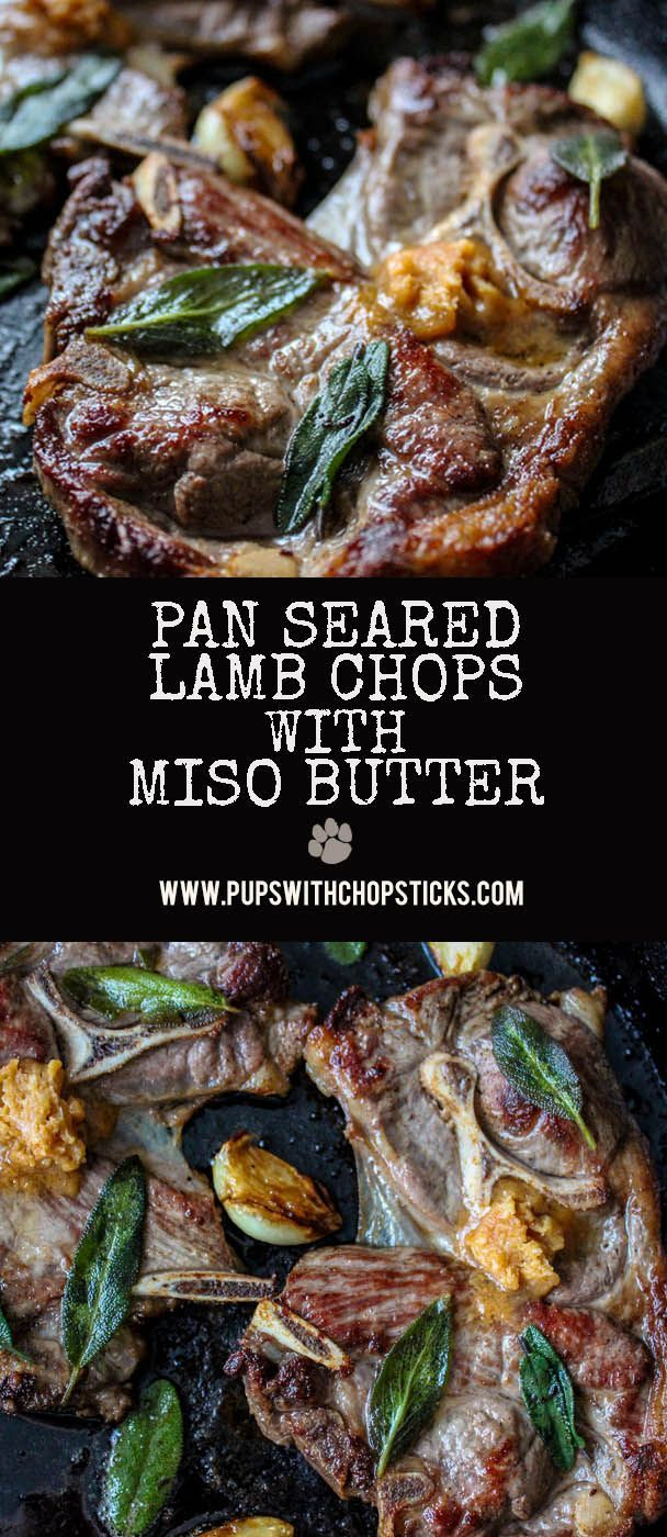 Seared lamb chops topped with umami miso butter!