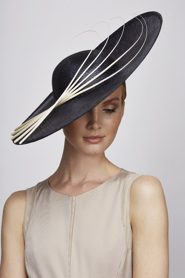 Juliette Botterill S/S 2014 Navy Side Sweep Hat with quill detail.