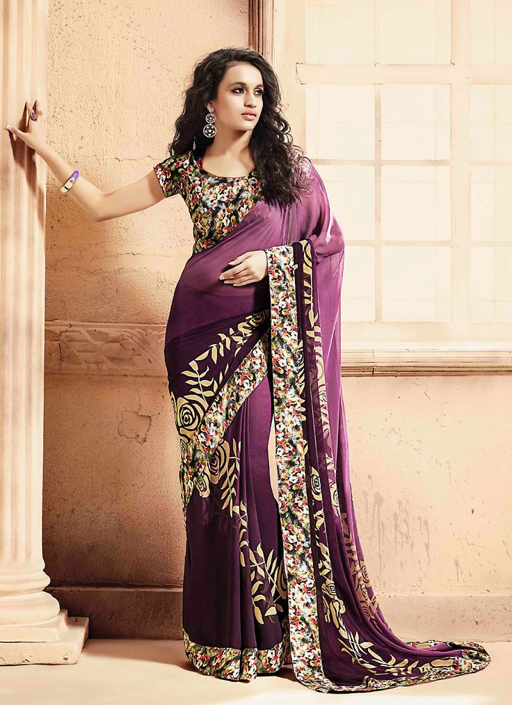 Make the heads turn when you costume up with this desirable Dak Violet Georgette Saree. The ethnic Printed & Lace work at the clothing adds a sign of attractiveness statement with your look. Buy Online Designer Ethnic Saree, Casual Wear, Daily Wear, Party Wear, Kitty Party Wear, Sarees, Shari, Sari, Indian Saris For women. We have large range of Designer Printed Sarees Online in our website with the best pricing and unique designs shipping to World Wide.